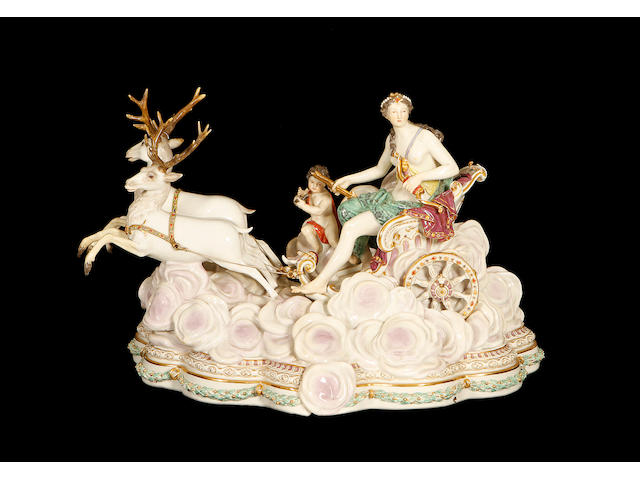 A large late 19th century Meissen group of Diana the Huntressmodelled by Kandler