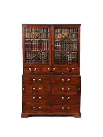 A George III mahogany 'campaign' secretaire bookcase