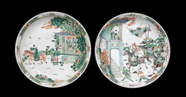 An associated pair of famille verte dishes Qing Dynasty