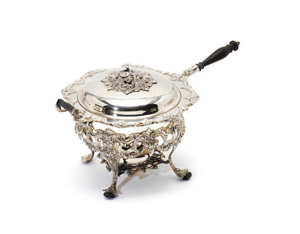 An American plated large covered warming pan on stand, by Webster & Wilcox, International Silver Co,