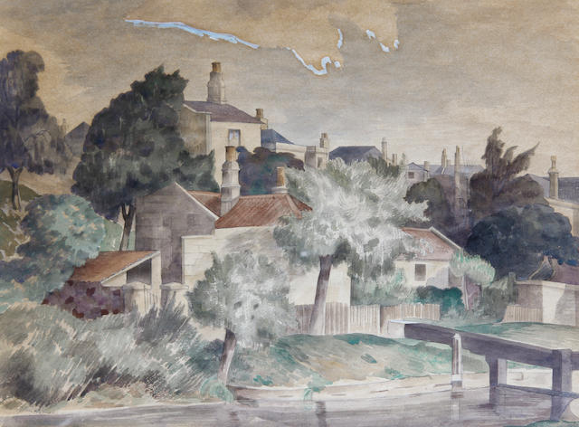 John Northcote Nash (British, 1893-1977) The Wiston Lockgate. Bath