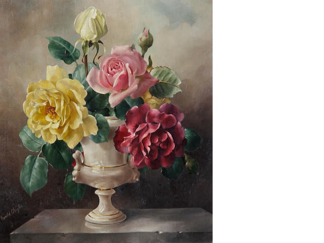 Harold Clayton (British, 1896-1979) Roses in ornamental vase
