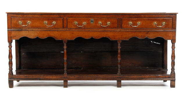 An early George III oak low dresser, Montgomeryshire