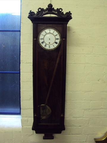 A 19th century rosewood Vienna-type wall clock
