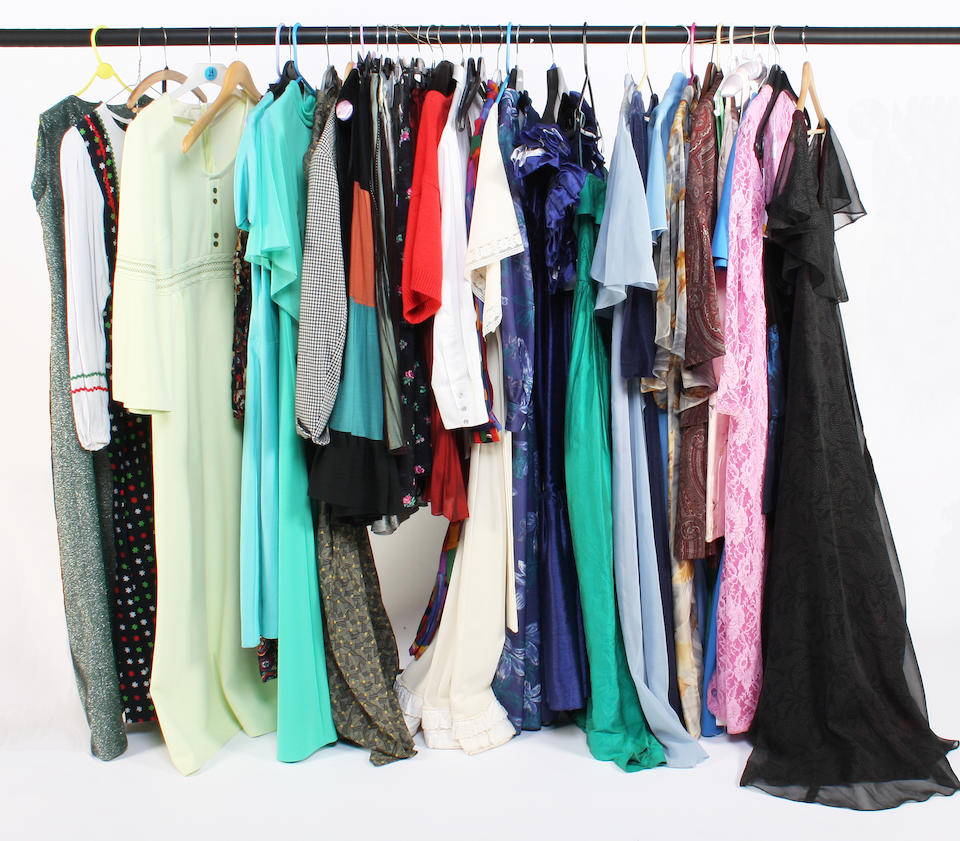A large group of 1960-80s clothing