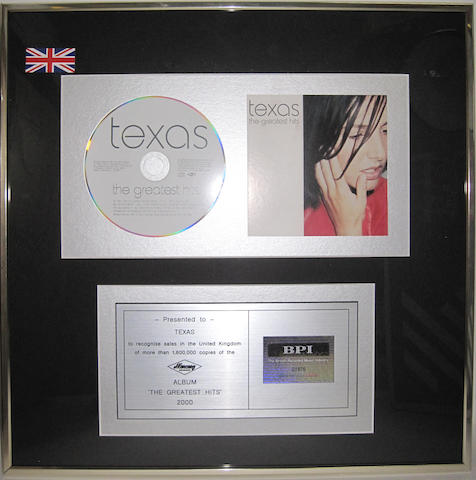 A 'multi-platinum' sales award for the album 'The Greatest Hits' by Texas, 2000,