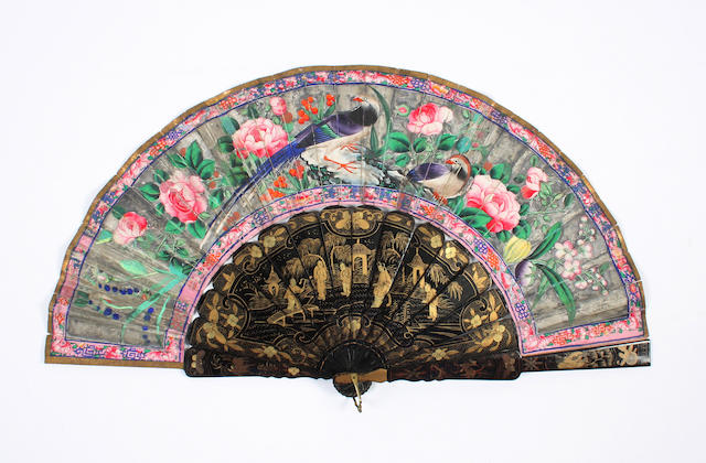 A Chinese lacquer and paper fan, late 19th century