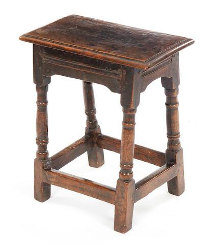 A Charles I oak joint stool