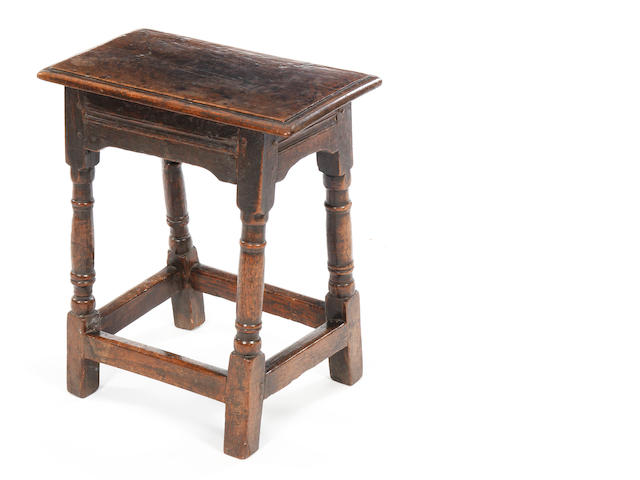 A Charles I oak joint stool