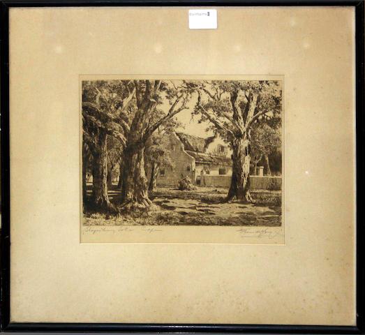 Marthinus (Tinus) Johannes de Jongh (South African, 1885-1942) 'Steynsberg Tokai Café', 'Stellenberg Kenilworth Café' and 'Glenconner Stellenbosch Café',