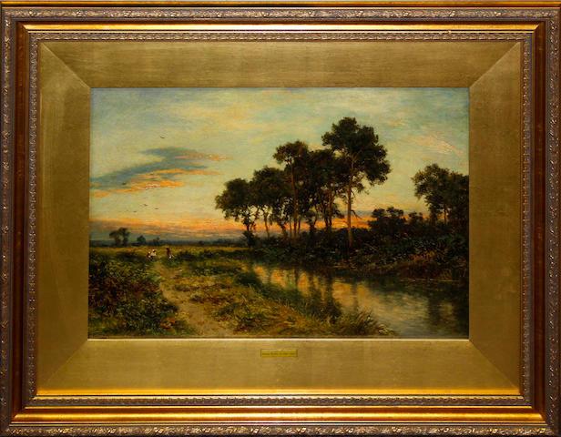 Daniel Sherrin (British, 1868-1940) Rural river landscape,