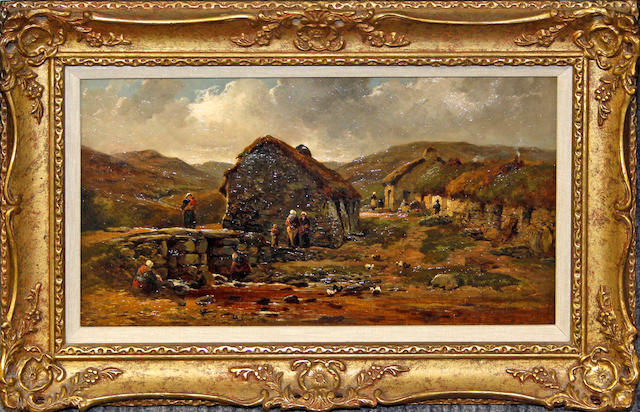 Circle of John Syer, RI (British, 1815-1885) Rural hamlet with figures and stream,
