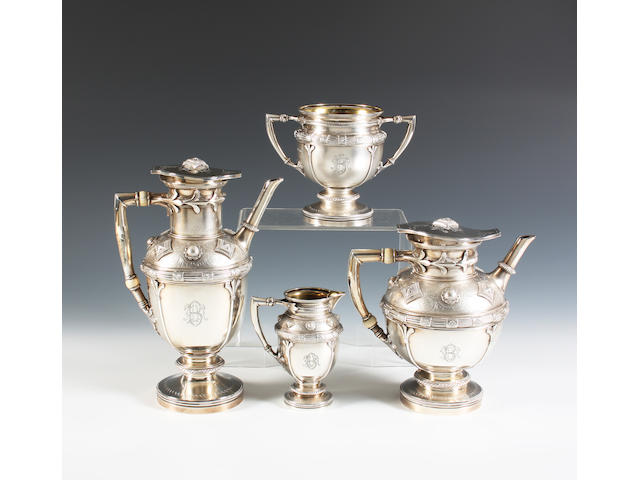 A late Victorian silver four piece tea and coffee service in the Russian style By Elkington & Co Ltd, London, 1890,