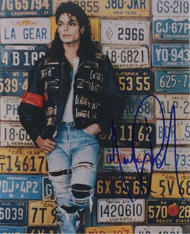 An autographed Michael Jackson photograph,
