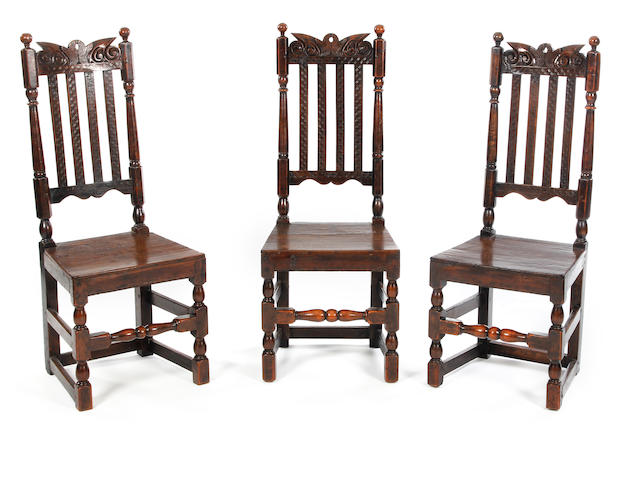 Three William & Mary walnut slat-back side chairs Circa 1690