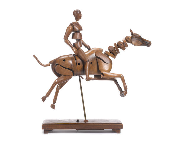 A late 19th / early 20th century English beechwood artist's lay model of a horse and riderby Lechertier Barbe Ltd