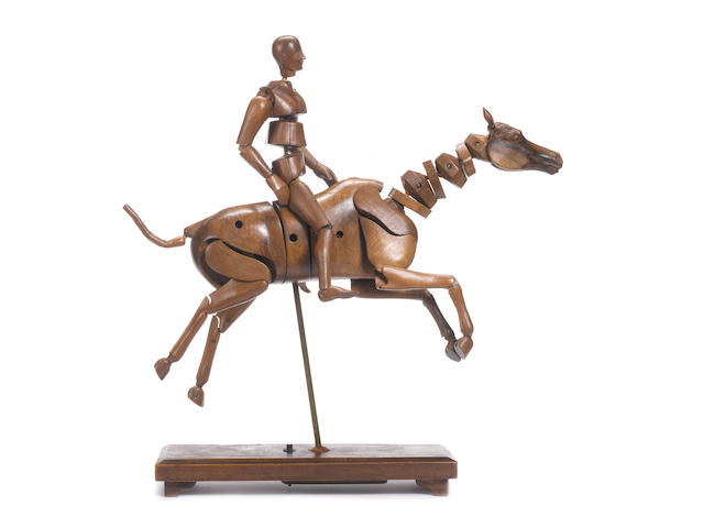 An artist's model of a horse and rider Lechartier Barb Ltd