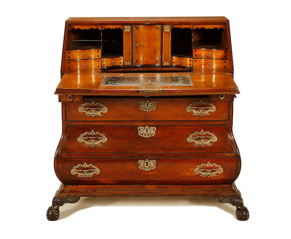 A Dutch third quarter 18th century walnut bombé bureau