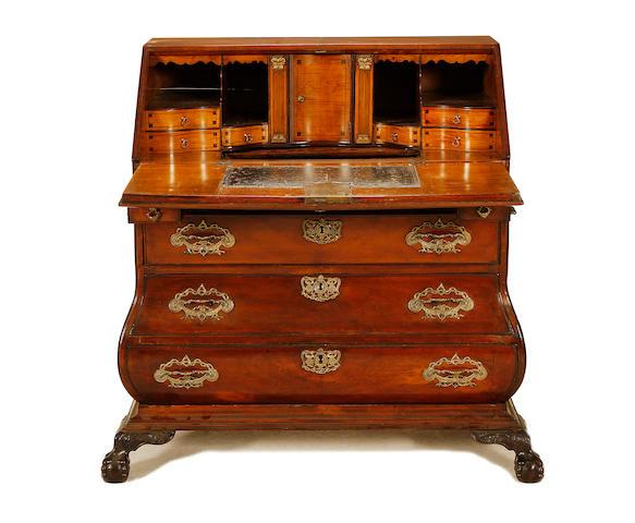 A Dutch third quarter 18th century walnut bombé bureau