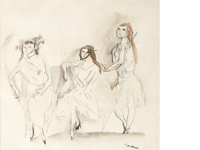 Jules Pascin (French, 1885-1930) Trois jeunes filles
