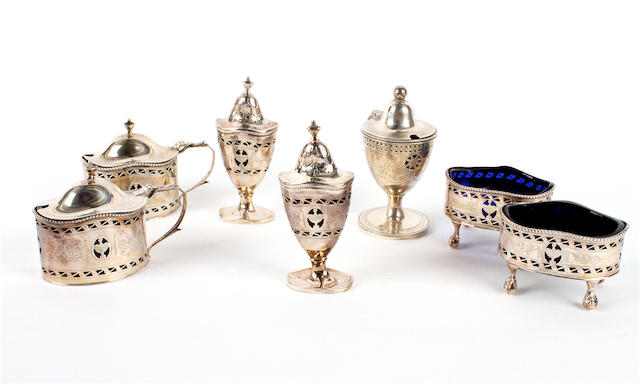 A  silver Neoclassical style six piece condiment set By Charles Boyton & Son, Birmingham,  1926,  (7)
