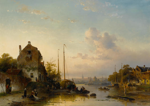 Charles Leickert (Dutch, 1816-1907) Dutch river landscape at sunset