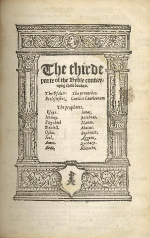 BIBLE, in English, Great Bible version, [J. Cawood, 1569]