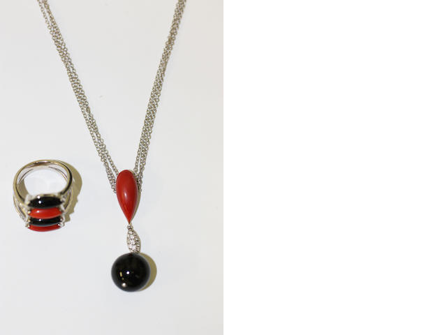 A suite of coral and onyx jewellery
