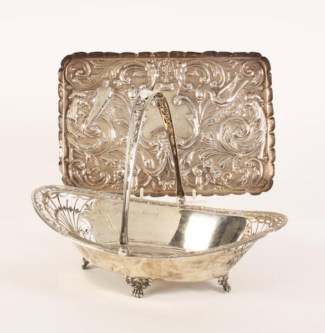A silver swing handled cake basket By James Dixon & Sons, Sheffield, 1916,  (2)