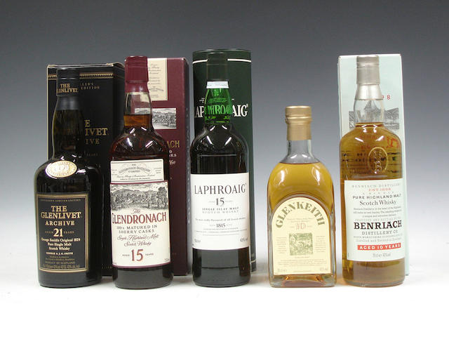 The Glenlivet Archive-21 year oldThe Glendronach-15 year oldLaphroaig-15 year oldGlen Keith-10 year oldBenriach-10 year old