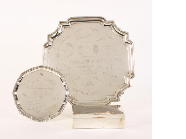 A silver presentation salver By The Goldsmiths and Silversmiths Co. Ltd, London, 1922,  (3)