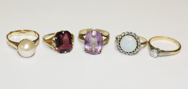 Five gem set rings