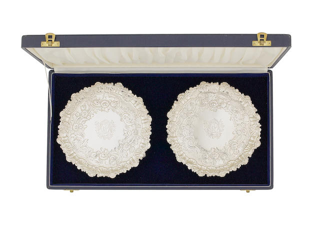 A pair of silver salvers, by Dorothy Mills, London 1737