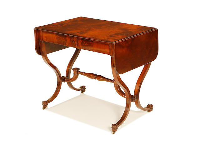 A Belgian early 19th century mahogany sofa table by Jean-Joseph Chapuis