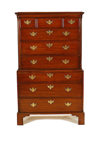 An early George III mahogany chest-on-chest