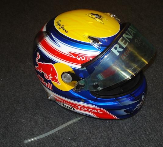 Mark Webber's Arai racing helmet, extensively used during the 2011 Formula 1 season,