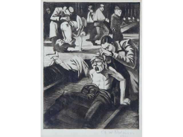 Christopher Richard Wynne Nevinson A.R.A. (British, 1889-1946) etching, Hospital scene 1916