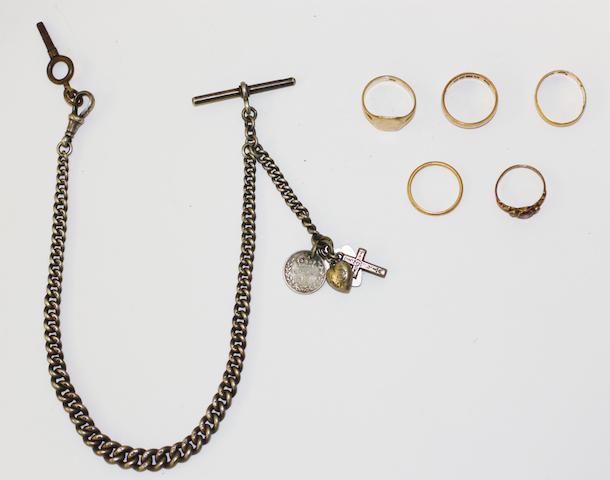 Three 22ct gold wedding rings