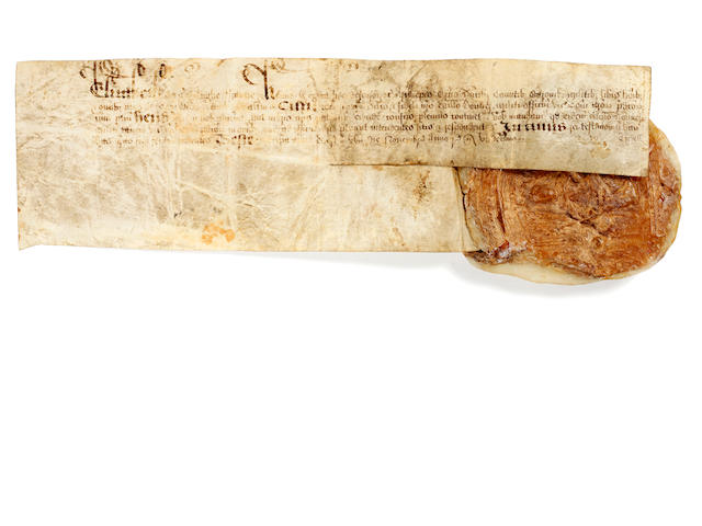 ELIZABETH I. Charter bearing the first Great Seal, [before 1584]