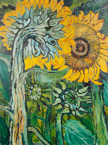 John Bratby R.A. (British, 1928-1992) Two sunflowers and opening bulb