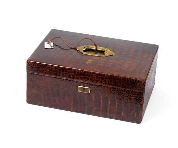 A fine Victorian crocodile leather dispatch box, by Asprey,