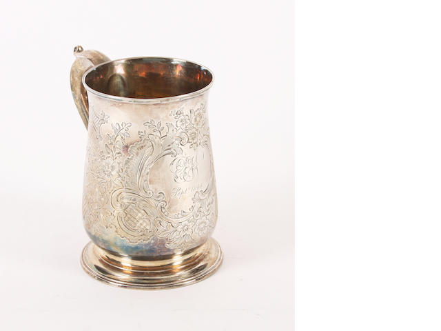 A George II silver mug Maker's mark indistinct, London, 1737,