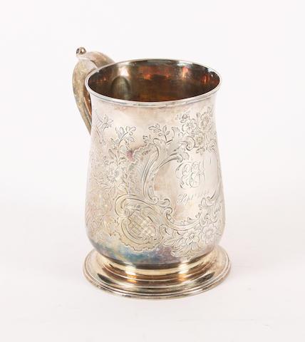 A George II silver mug Maker's mark indistinct, London, 1737,