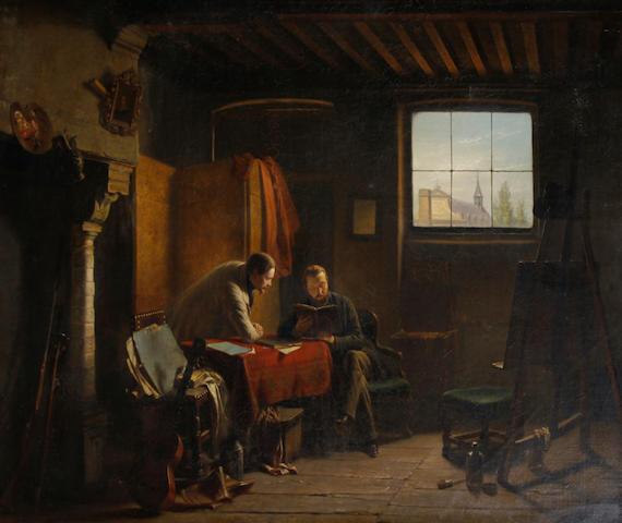 Napoleon Francois Ghesquiere (Belgian, 1812-1862) The artist's studio