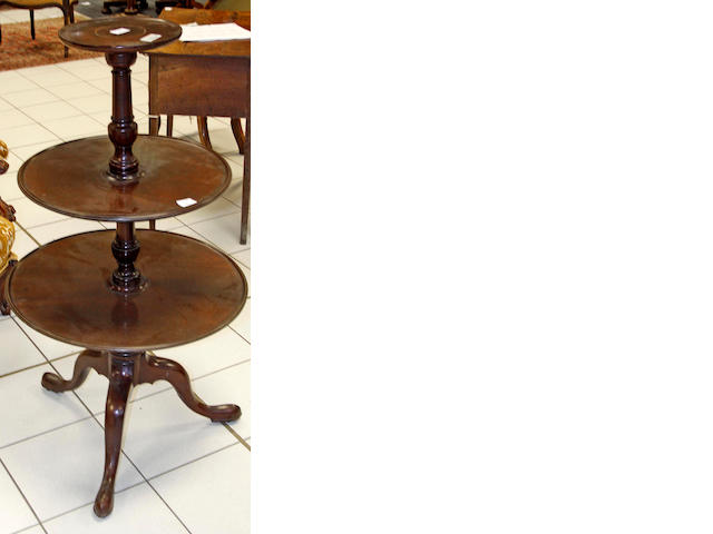 A George III and later mahogany, circular, three tier dumb waiter,