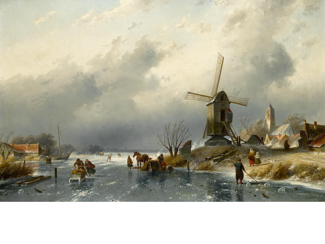 Charles Leickert (Dutch, 1816-1907) Dutch village scene with figures on a frozen canal