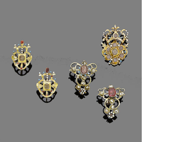 A group of 18th and 19th century enamel and gem-set jewellery (5)