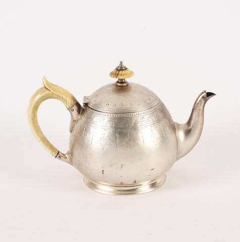 A Victorian bachelor's silver teapot By Henry Wilkinson & Co., Sheffield, 1873,
