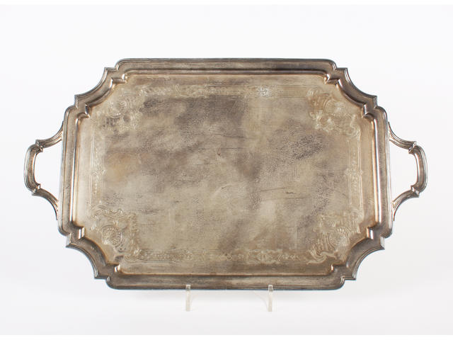 A large silver twin handled tray By Mappin & Webb, Sheffield, 1956,