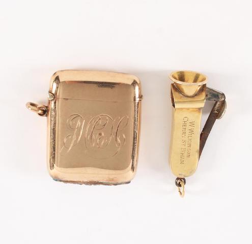 An Edwardian 9 carat gold vesta case By Horton & Allday, Birmingham, 1902,